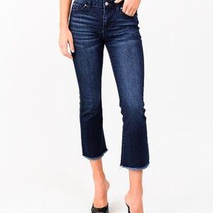 Denim - Dark navy blue washed frayed hem flared jeans